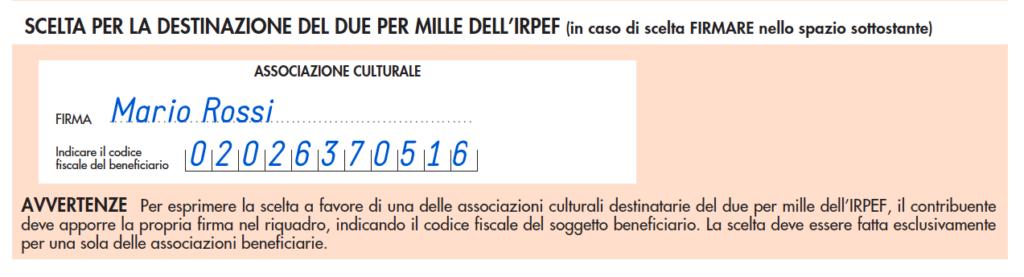 riquadro 2x1000 associazioni culturali nella dichiarazione dei redditi